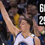 クレイ・トンプソンが29分の出場時間(3Q時点)でキャリアハイの60得点!この日は前半だけで40得点も記録【NBA 2016-17】