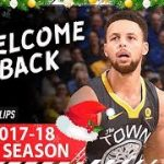 【NBA 2017-18】ステフィン・カリーが復帰戦で3P10本を含む38点をあげる活躍